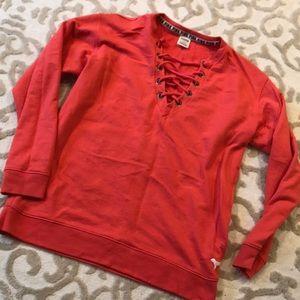 PINK lace up sweatshirt